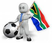 A South Africa Football Fan With A Flag And A Ball In South Africa