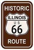 image of illinois  - Illinois Historic Route 66 traffic sign with the legend HISTORIC ROUTE US 66 - JPG