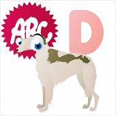 D is for vector cute cartoon isolated Dog