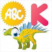 K is for vector cute cartoon isolated Kentrosaurus