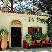 Beautiful Small Greek Chapel With Flower Pots (Crete, Greece)