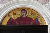 BUDVA, MONTENEGRO - JUNE 09, 2012: Virgin Mary - mosaic icon in Orthodox Christian church, on June 09, 2012 in Budva, Montenegro