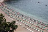 BUDVA, MONTENEGRO - JUNE 09, 2012: Beach in Budva, Montenegro, on June 09, 2012.