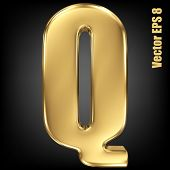 Vector letter Q from gold solid alphabet. Uppercase golden font collection. EPS 8