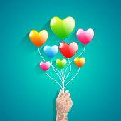 Heart Balloon And Polygon Hand.abstract Love Vector Illustration