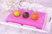 Sweet cake pops on table close-up
