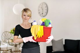 picture of detergent  - beautiful woman with detergent for cleaning house - JPG