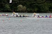 Start Line For Part Of Boats With Four Rowers.