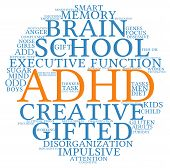 foto of prone  - ADHD circle shaped word cloud on a white background - JPG