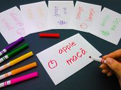 picture of card-making  - Making language flash cards for fundamental words - JPG