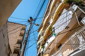 foto of albania  - Chaotic power lines in Tirana city - JPG