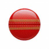 foto of cricket ball  - Halftone cricket ball isolated on white background - JPG