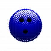 pic of bowling ball  - Blue bowling ball halftone on white background - JPG