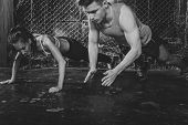 Sportsmen. fit male trainer man and woman doing clapping push-ups explosive strength training concep poster