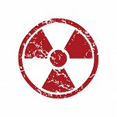 picture of nuke  - Red grunge nuclear logo on a white background - JPG