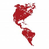 picture of continent  - Red grunge continent America logo on a white background - JPG