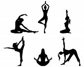 foto of yoga silhouette  - Vector illustration of a girls practicing yoga silhouettes - JPG
