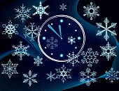 Christmas background with a clock and snowflakes