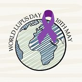 picture of lupus  - illustration of earth and ribbon for World Lupus Day - JPG