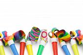 Colorful Party Blowers Border