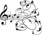 foto of g clef  - Treble clef and musical notes with decorative floral swirls - JPG