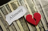 image of divorce-papers  - Broken red heart and Amimony paper note on cash - JPG