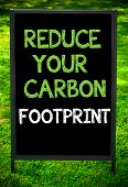 picture of carbon-footprint  - REDUCE YOUR CARBON FOOTPRINT message on sidewalk blackboard sign against green grass background - JPG