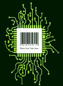 foto of barcode  - Barcode label on green background in PCB - JPG