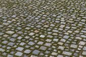 image of paving stone  - paved walkway in the old town with stones - JPG