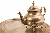 pic of pompous  - metal teapot in bronze for coffee and tea - JPG