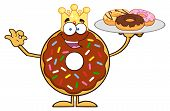 picture of donut  - King Chocolate Donut Cartoon Character Serving Donuts - JPG
