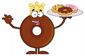 stock photo of donut  - King Chocolate Donut Cartoon Character Serving Donuts - JPG