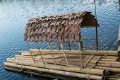 pic of raft  - Bamboo raft made of bamboo - JPG