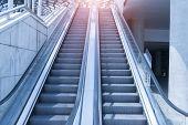 stock photo of escalator  - escalator with blue tone - JPG