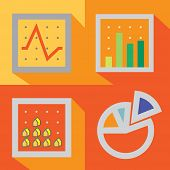 foto of disadvantage  - 4 types of graph in traditional style are create with simple elements - JPG
