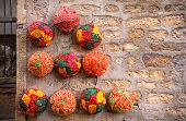 stock photo of turban  - Colorful ethnic Rajasthan turbans on market at Jaisalmer fort Rajasthan India - JPG