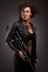 picture of sniper  - Sexy military woman posing with sniper gun - JPG
