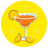 Orange Margarita: Retro cocktail icon isolated on yellow background