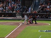 Batter Buster Posey Swings At Incoming Pitch