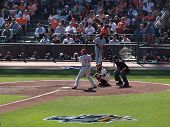 Batter Jayson Werth Stands In The Batters Box With Buster Posey Catching