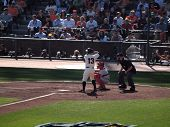 Giants Cody Ross At Bat With Sunshining Off His Helmet