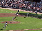 Giants Infielders Run In To Grab Bunt As Matt Cain Throws Pitch