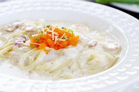 pic of carbonara  - Spaghetti Carbonara with Bacon and eggs shrimp - JPG