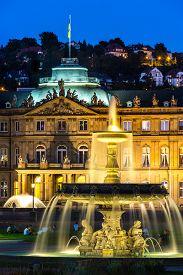 stock photo of fountain grass  - Fountain at neues Schloss New palace in Stuttgart city center - JPG