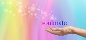 picture of soulmate  - Female hand palm up with the word Soulmate floating above - JPG
