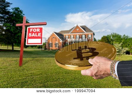 poster of Businessman or finance executive in suit offering bitcoin to purchase large single family home