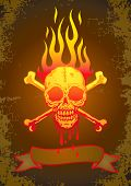 foto of jaw drop  - Illustration of the skull in flames with the blood flowing - JPG