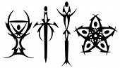 stock photo of pentacle  - Black Tarot symbols rendered in tattoo style - JPG
