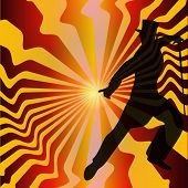 foto of debonair  - Top Hat and Tails Vector Background with a debonair dancer - JPG