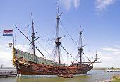 VOC ship in Amsterdam harbor Netherlands